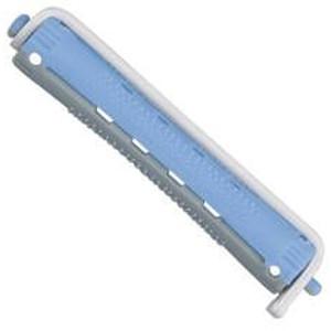 Bigudí Plástico Bicolor Azul Gris Largo Docena