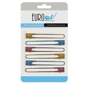 Pinza Peluqueria Curvada Metal 6 Unid Colores Metalizados 11.5cm Eurostil