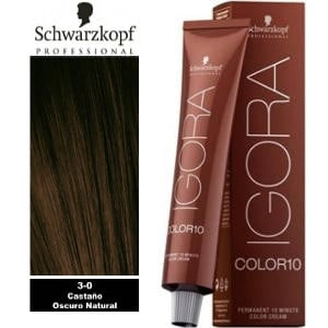Tinte Igora Color 10 Castaño Oscuro Natural 3-0 Schwarzkopf 60ml