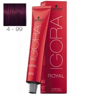 Tinte Igora Royal Castaño Medio Violeta Intenso 4-99 Schwarzkopf 60ml