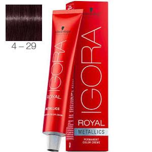 Tinte Igora Royal Metallics 4-29 Castaño Medio Máte Violeta 60ml