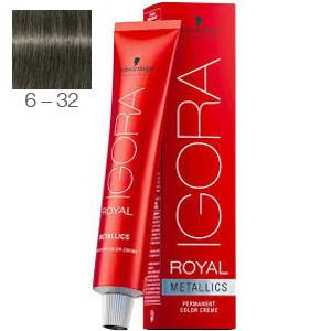 Tinte Igora Royal Metallics 6-32 Rubio Oscuro Humo Máte 60ml