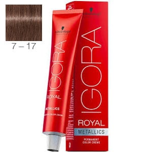 Tinte Igora Royal Metallics 7-17 Rubio Medio Ceniza Cobrizo 60ml