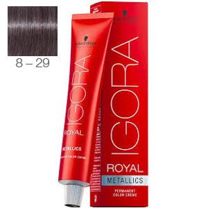 Tinte Igora Royal Metallics 8-29 Rubio Claro Máte Violeta 60ml