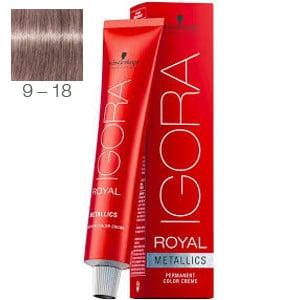 Tinte Igora Royal Metallics 9-18 Rubio Muy Claro Ceniza Rojo 60ml