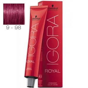 Tinte Igora Royal Rubio Muy Claro Violeta Rojo 9-98 Schwarzkopf 60ml