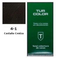 Tinte Tur 4-1 Castaño Ceniza Crema sin Decoloración + Oxidante Gratis