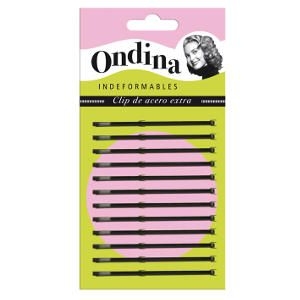 Horquilla Clip Ondina Negra Lisa 5,5 cm Carton 12 Unidades