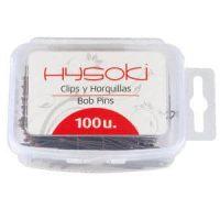 Horquillas Clip Hysoki Bronce Lisa con Bola Caja 100 Unidades