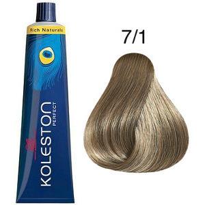 Tinte Koleston Perfect 7-1 Rubio Medio Ceniza Rich Naturals 60ml Wella