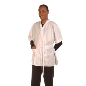 Kimono Tergal Corto Bicolor Blanco con Ribete Rosa