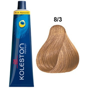Koleston Perfect 8-3 Wella Tinte Rubio Claro Dorado Rich Naturals 60ml