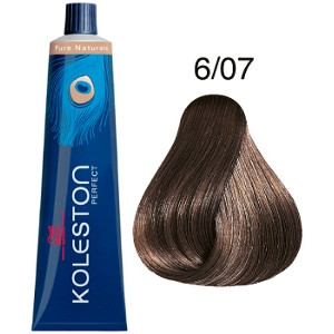 Koleston Perfect 6-07 Wella Tinte Rubio Oscuro Natural Marrón Pure Naturals 60ml