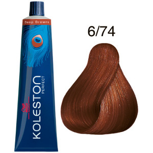 Koleston Perfect 6-74 Tinte Wella Rubio Oscuro Marrón Cobrizo Deep Browns 60ml