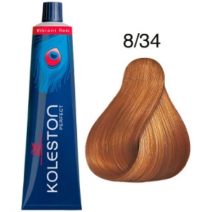 Koleston Perfect 8-34 Wella Tinte Rubio Claro Dorado Cobrizo Vibrant Reds 60ml