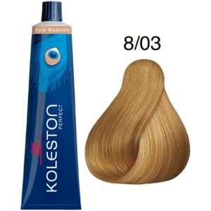 Tinte Koleston Perfect 8-03 Wella Rubio Claro Natural Dorado Pure Naturals 60ml
