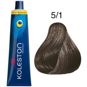 Tinte Koleston Perfect 5-1 Wella Castaño Claro Ceniza Rich Naturals 60ml