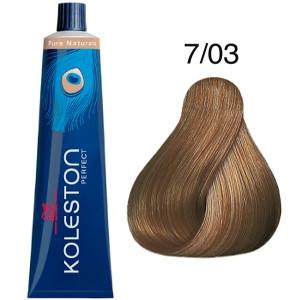 Tinte Koleston Perfect 7-03 Wella Rubio Medio Natural Dorado Pure Naturals 60ml