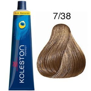 Tinte Koleston Perfect 7-38 Wella Rubio Medio Dorado Perla Rich Naturals 60ml