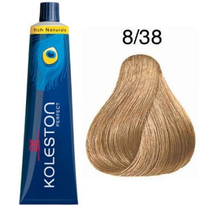Tinte Koleston Perfect 8-38 Wella Rubio Claro Dorado Perla Rich Naturals 60ml