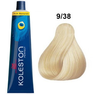 Tinte Koleston Perfect 9-38 Wella Rubio Muy Claro Dorado Perla Rich Naturals 60ml