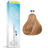 Tinte Koleston Perfect INNOSENSE 8-3 Wella Rubio Claro Dorado Rich Naturals 60ml