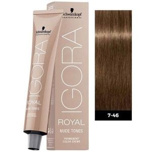 Tinte Igora Royal Nude Tones 7-46 Rubio Medio Beige Chocolate Schwarzkopf 60ml