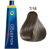 Tinte Koleston Perfect 7-18 Wella Rubio Medio Ceniza Perla Rich Naturals 60ml + Oxidante Welloxon 60ml