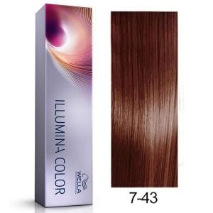 Tinte Illumina Color 7/43 Wella Rubio Medio Cobre Dorado 60ml