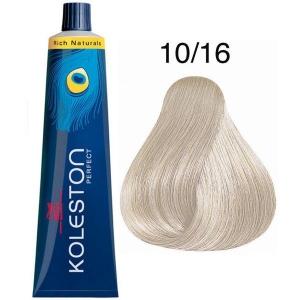 Tinte Koleston Perfect 10/16 Wella Rubio Super Claro Ceniza Violeta Rich Naturals 60ml