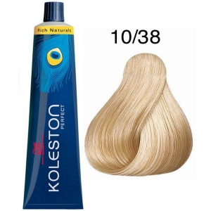 Tinte Koleston Perfect 10/38 Wella Rubio Super Claro Dorado Perla Rich Naturals 60ml
